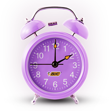 A purple clock with a Bic logo on it